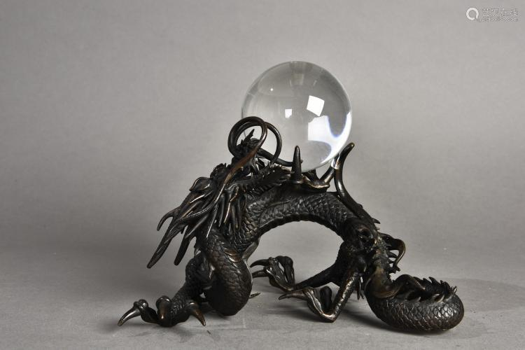 A 'DRAGON' BRONZE SCULPTURE WITH CRYSTAL BALL, 20TH CENTURY