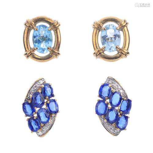 A selection of gem-set earrings. To include a pair of 9ct gold diamond line earrings, a pair of