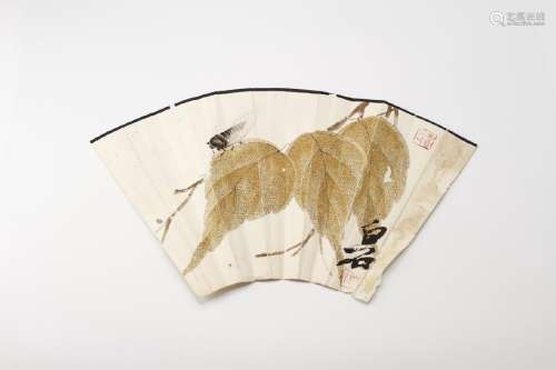 Qi Baishi: Half Fan Painting, Leaves and Cicada
