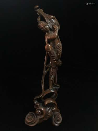 Chinese Huangyang Wood Carved Dancing Lady