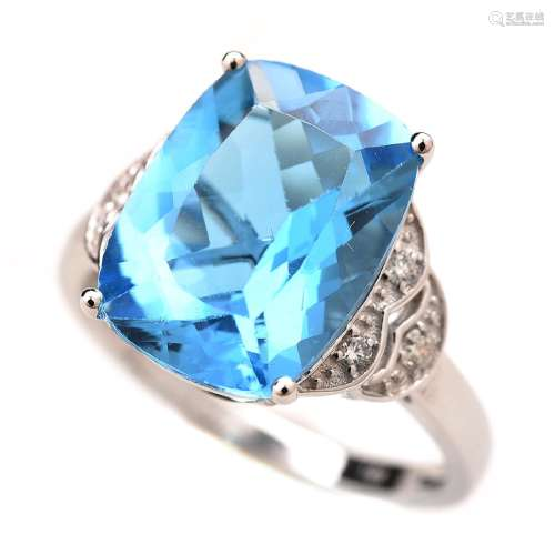Blue Topaz, Diamond 14k White Gold Ring