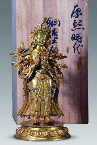 清康熙 铜鎏金嵌宝弥勒立像