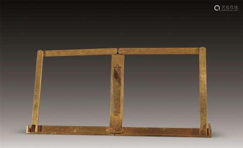 20世纪 铜鎏金錾花帖架