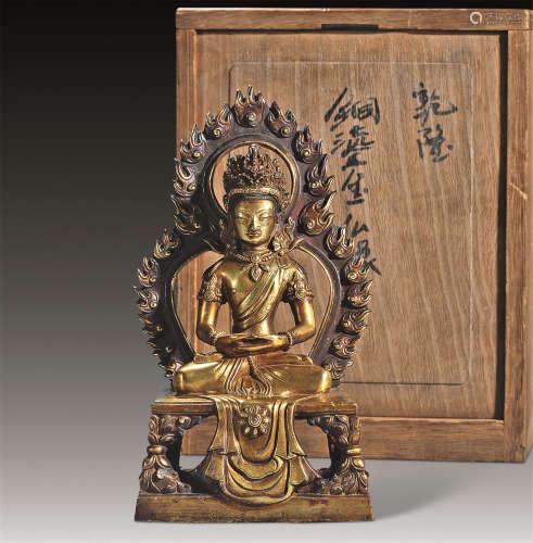 清乾隆 铜鎏金无量寿佛龛像