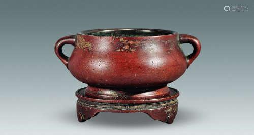 17世纪 红铜蚰耳炉