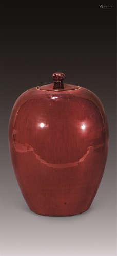 清乾隆 祭红冬瓜罐