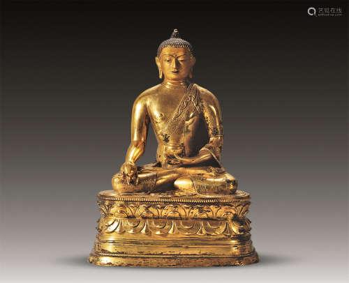 18世纪 铜鎏金泥金面药师佛