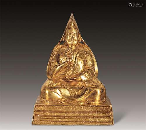 清 铜鎏金宗喀巴像