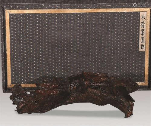 20世纪 木雕残荷承盘
