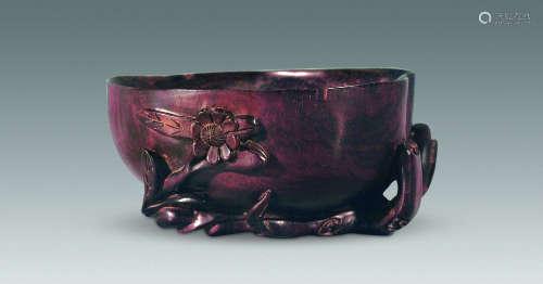 清 紫檀寿桃杯