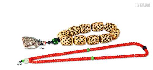 骨透雕项铃、珊瑚项链 (两件)