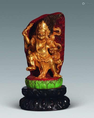民国 寿山鎏金古彩金刚像