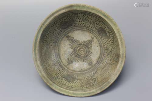 Antique Thai Sawankhalok Blue and White Bowl, ca. 16 th