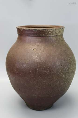 Large Japanese Bizen Brown Glazed Storage Jar.