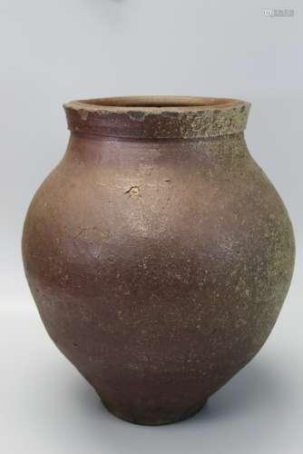 Large Japanese Bizen Brown Glazed Storage Jar.