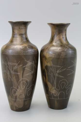 Pair of Chinese bronze with silver inlaid vases, marked