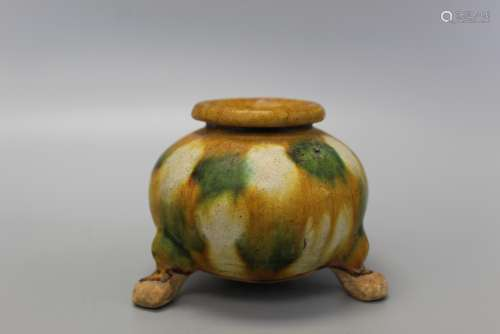 Antique Chinese Sancai Glazed tripod incense burner.