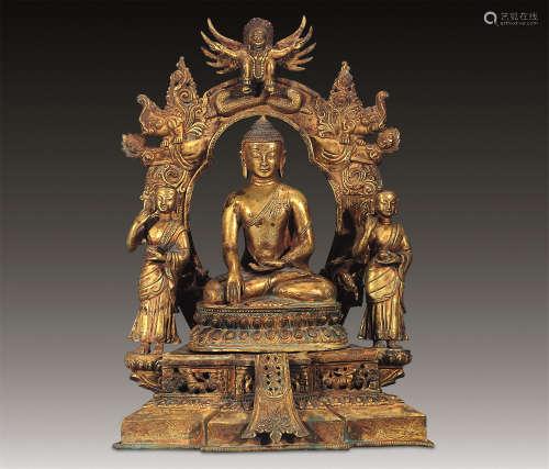 清 铜鎏金释尊三佛龛