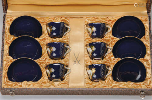 6 demitasses with saucers in matching case