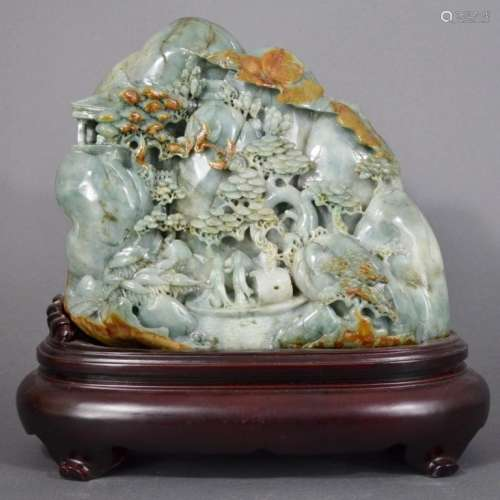 A JADE CARVING OF MOUNTAIN AND STAND