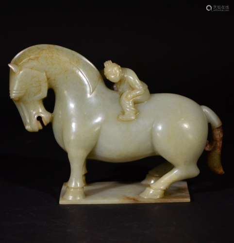 A JADE FIGURE OF A  HORSE AND A MAN