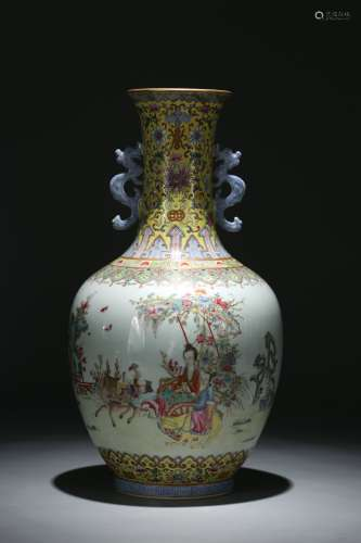 A Chinese Famille Rose Porcelain Vase with Ears