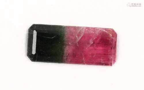 Loose bevelled watermelon tourmaline-rectangleapprox. 18.05 ct