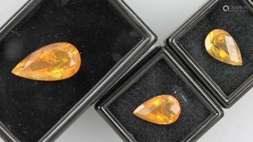 Lot 3 loose bevelled fire opals