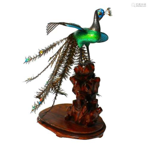Vintage Chinese Silver Hand Carved Enamel Peacock