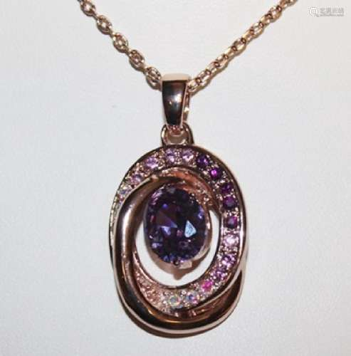 Lady's Fancy Amethyst 18kts Gold over Silver Pendant