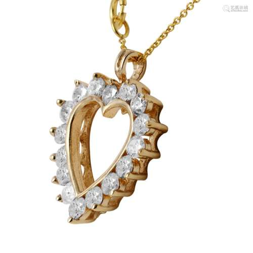 10KT Yellow Gold Diamond Heart Necklace