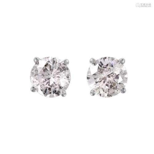 14KT White Gold Diamond Stud Earrings