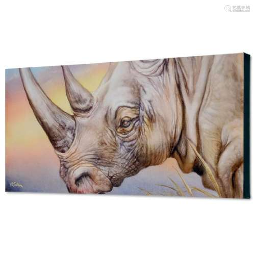 White Rhino Limited Edition Giclee on Canvas by