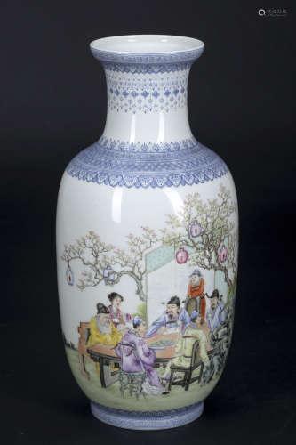 粉彩人物诗纹图瓶
