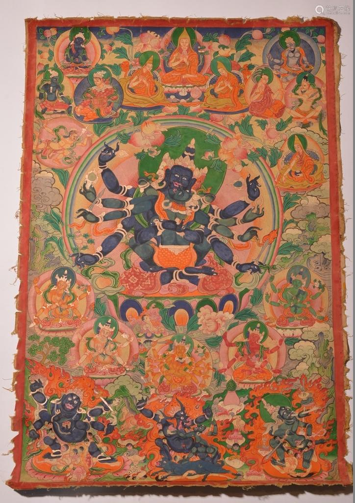 A THANGKA OF PARAMASUKHA-CHAKRASAMVARA. 18th Century