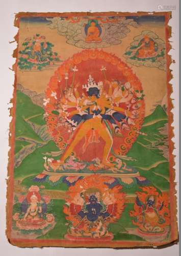 A THANGKA OF SHRIHEVAJRA. 18th Century