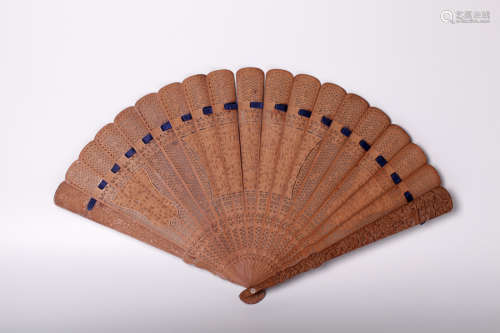 Chinese 19 century hard wood carved fan
