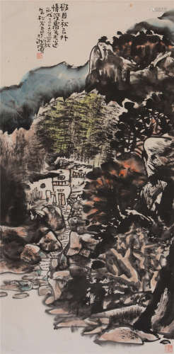 朱松发(b.1942)  极目秋云外 设色纸本  软片  2006年作