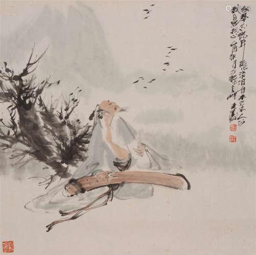 王涛(b.1943)  抚琴图 设色纸本  软片 2005年作