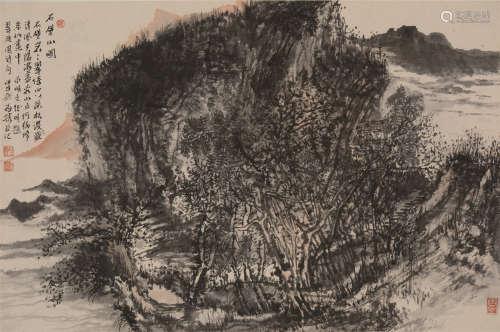 汪为胜(b.1964)  石壁山图 设色纸本  镜片 2014年作