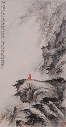 裴希明(b.1963)  诵经图 设色纸本  镜框 2017年作