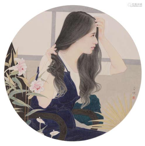 范春晓(b. 1980)  花  房 设色纸本  镜框  2017年作