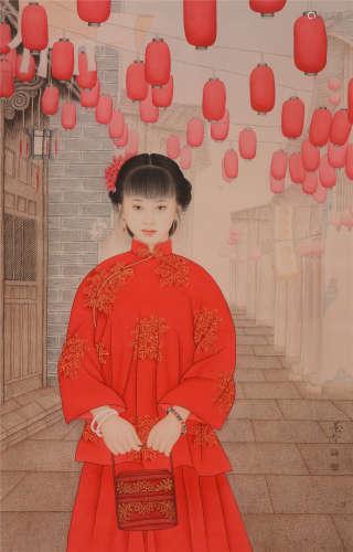 崔景哲(b.1980)  红灯笼 设色纸本  镜片