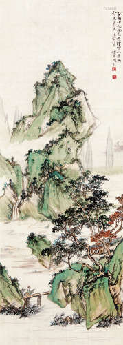 周怀民 (1907-1996) 山水 设色绢本 立轴 1993年 作