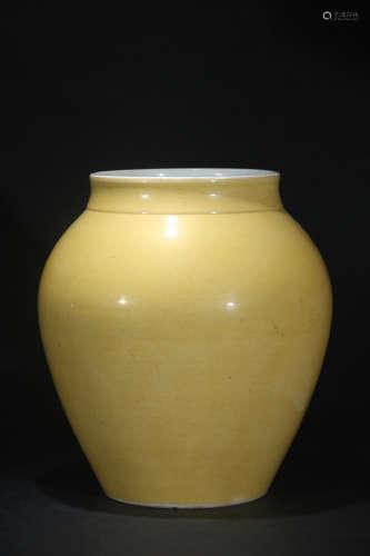 光绪官窑柠檬黄釉大罐