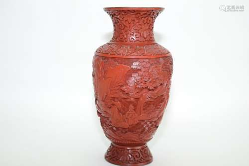 19th C. Chinese Cinnabar Carved Vase