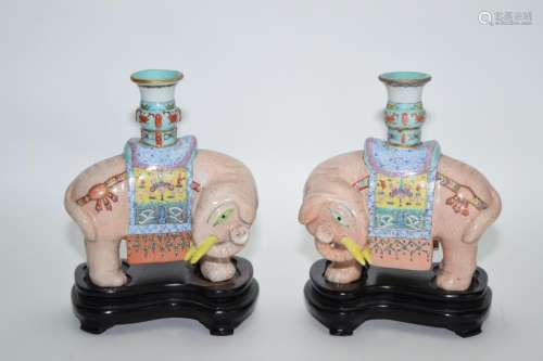 Pair of Late Qing Chinese Famille Rose Elephants