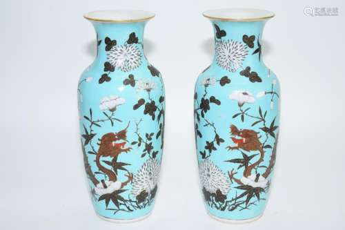 Pair of Late Qing Chinese Turquoise Glaze Dragon Vases