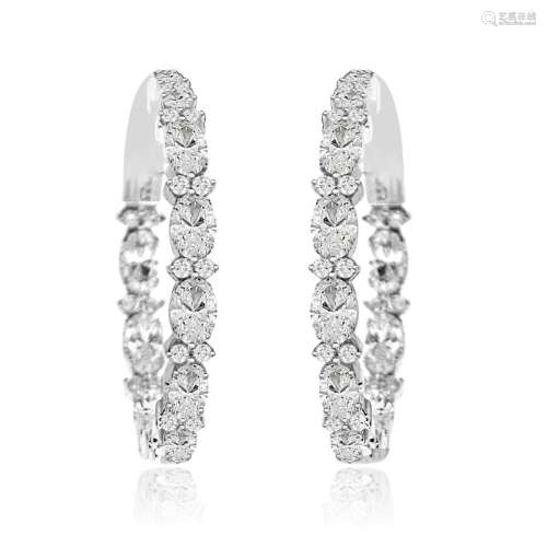 Sterling Silver Rhodium Plated and CZ Oval Hoop
