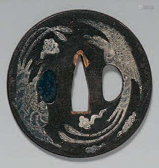 TSUBA en fer à décor en nunome-zogan argent…
